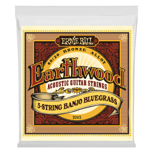 Ernie Ball Earthwood 5-String Banjo Bluegrass Loop End 80/20 Bronze Acoustic Guitar Strings - 9-20 Gauge