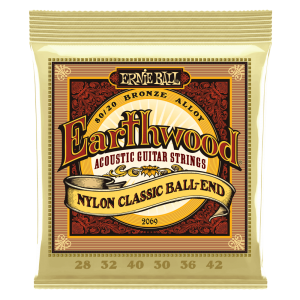 Ernie Ball Earthwood Folk Nylon, Clear & Gold Ball End, 80/20 Bronze Acoustic Guitar Strings - 28-42 Gauge