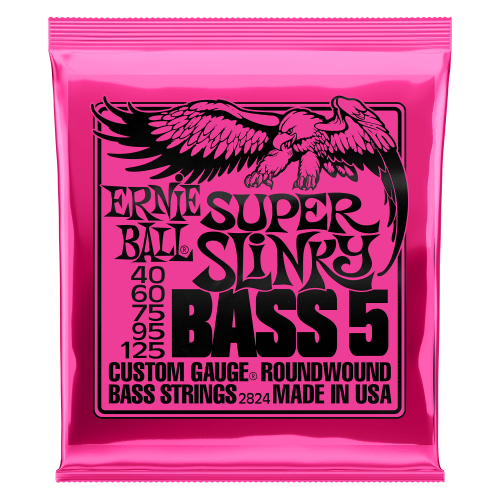 Ernie Ball Super Slinky 5-String Nickel Wound Electric Bass Strings - 40-125 Gauge