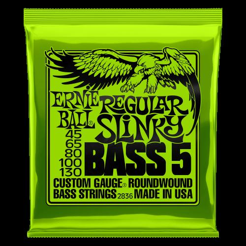 Ernie Ball Regular Slinky 5-String Nickel Wound Electric Bass Strings - 45-130 Gauge - P02836