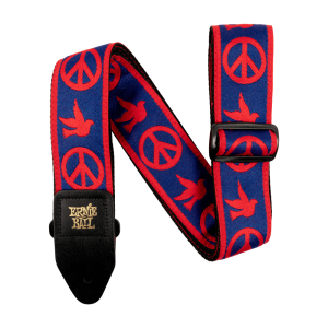 Ernie Ball Red and Blue Peace Love Dove Jacquard Strap - P04698