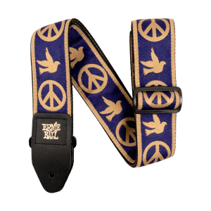 Ernie Ball Navy Blue and Beige Peace Love Dove Jacquard Strap - P04699