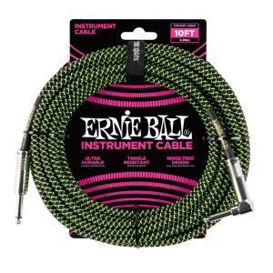 Ernie Ball P06077 10' Braided Straight / Angle Instrument Cable - Black / Green