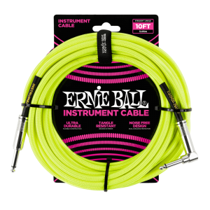 Ernie Ball P06080 10' Braided Straight / Angle Instrument Cable Neon - Yellow