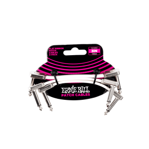 Ernie Ball P06384 - 3in Flat Ribbon Patch Cable White 3 Pack - White