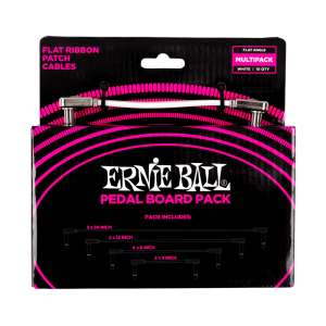 Ernie Ball Flat Ribbon Patch Cables Pedalboard Multi-Pack - White - P06387