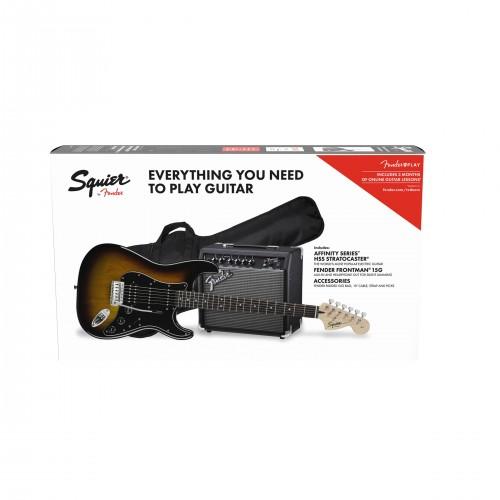 Fender Affinity Strat HSS in Brown Sunburst With Amp Pack