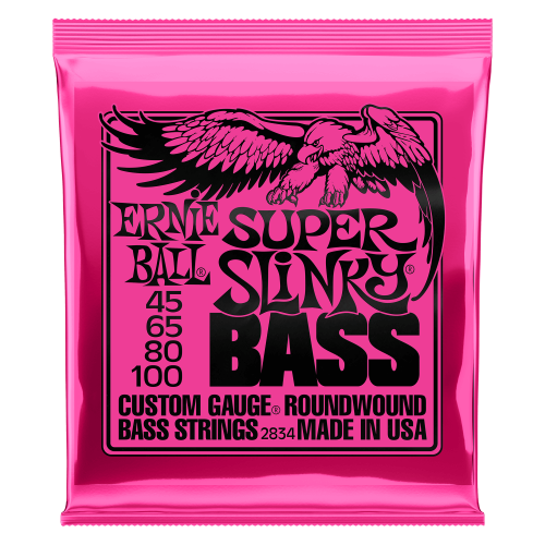 Ernie Ball Super Slinky Nickel Wound Electric Bass Strings - 45-100 Gauge - P02834