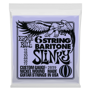 Ernie Ball Slinky 6-String w/ small ball end 29 5/8 scale Baritone Guitar Strings - 13-72 Gauge - P02839