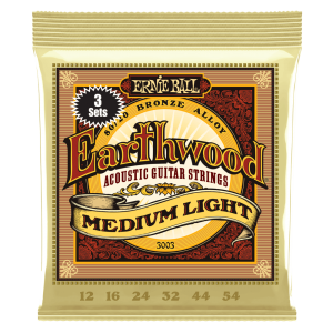 Ernie Ball Earthwood Light 80/20 Bronze Acoustic Guitar Strings 3-Pack - 11-52 Gauge - P03004