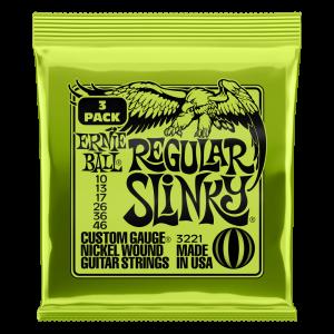 Ernie Ball Regular Slinky Nickel Wound Electric Guitar Strings 3 Pack - 10-46 Gauge - P03221