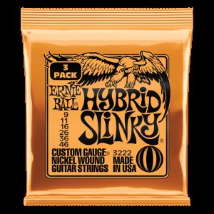 Ernie Ball Hybrid Slinky Nickel Wound Electric Guitar Strings 3 Pack - 9-46 Gauge - P03222