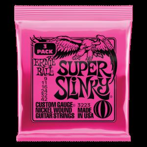 Ernieball Super Slinky Nickel Wound Electric Guitar Strings 3 Pack - 9-42 Gauge - P03223